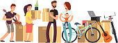 Couple and kids holding cardboard box with household stuff. Moving day vector concept