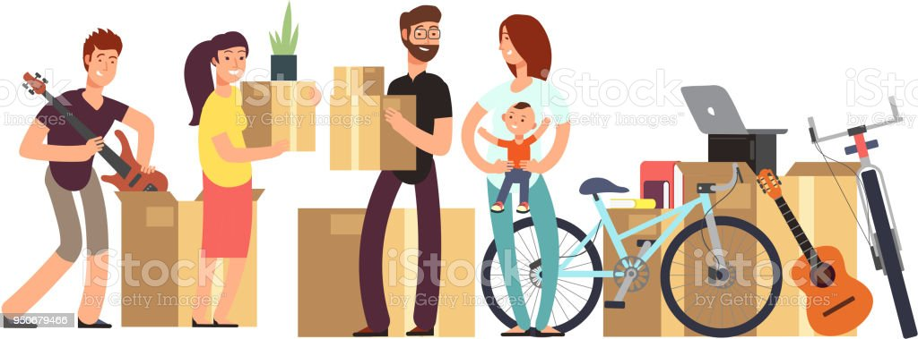 Couple and kids holding cardboard box with household stuff. Moving day vector concept vector art illustration