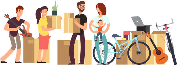 couple and kids holding cardboard box with household stuff. moving day vector concept - new home stock illustrations