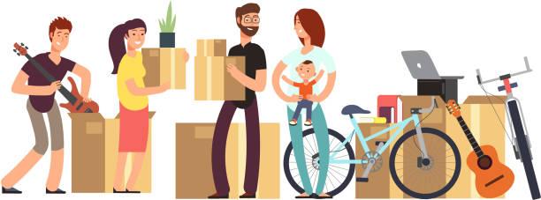 ilustrações, clipart, desenhos animados e ícones de casal e crianças segurando a caixa de papelão com coisas domésticas. conceito de vetor de dia em movimento - casa nova