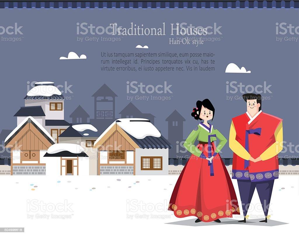カップル韓国の伝統的な村 - アジアおよびインド民族のベクターアート