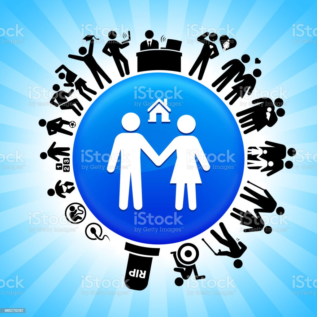 Couple and New Home Lifecycle Stages of Life Background royalty-free couple and new home lifecycle stages of life background stock vector art & more images of adolescence