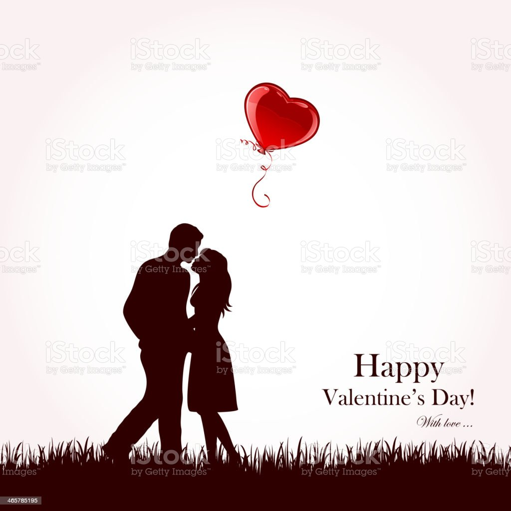 Couple and red balloon vector art illustration