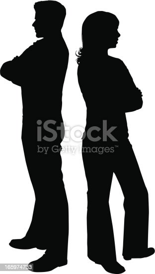 Outline of a couple with arms crossed and backs turned. Files included - ai (version 8 and CS3) and eps (version 8)