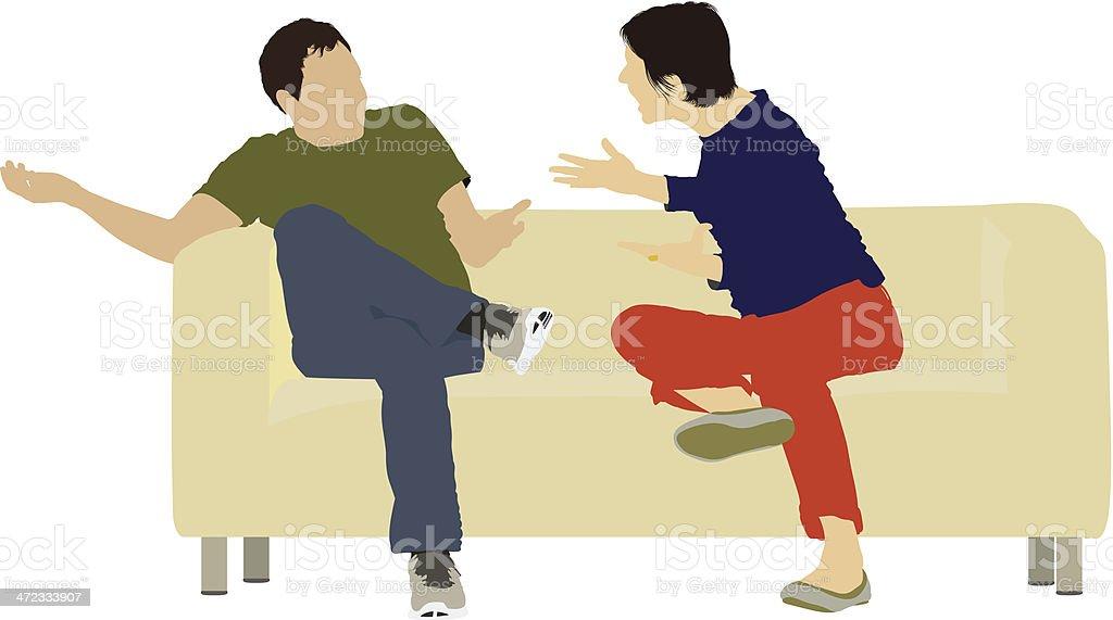Couple arguing each other vector art illustration