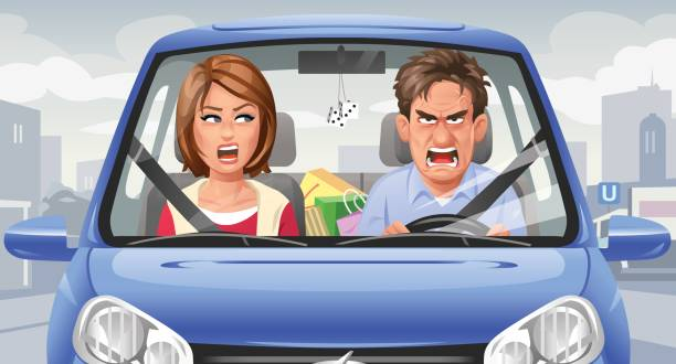 Couple Arguing In A Car vector art illustration