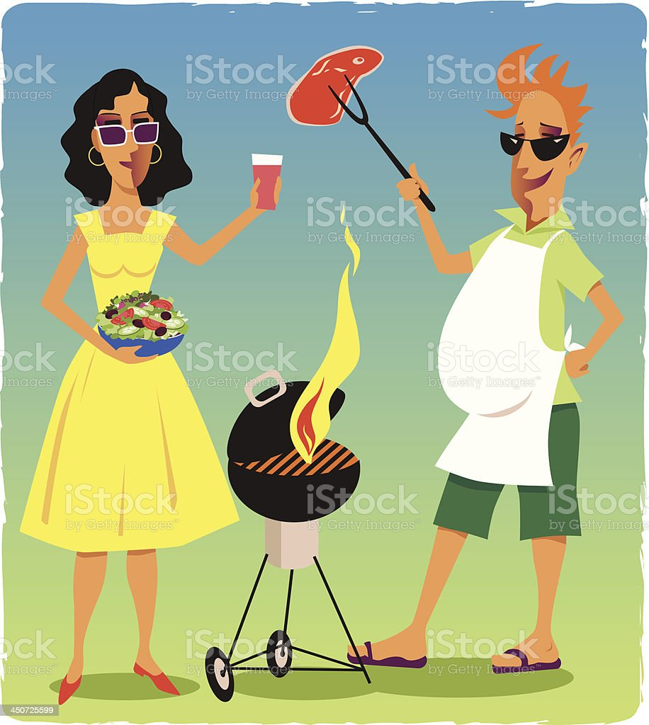 Couple at a barbecue party royalty-free stock vector art