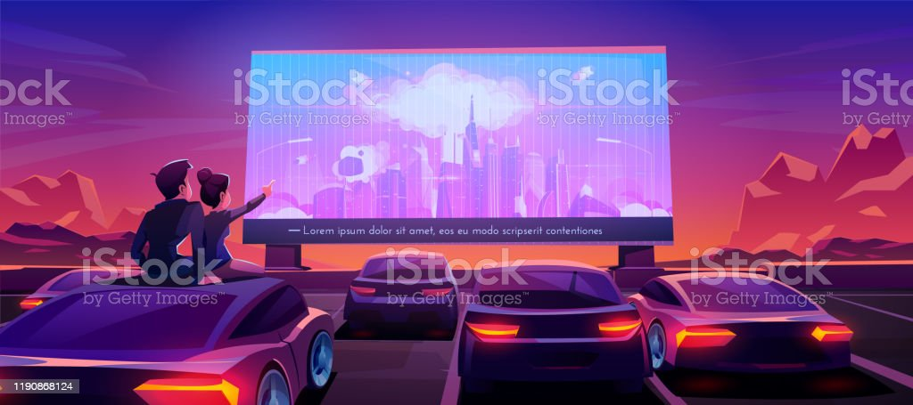 Couple at car cinema, dating in drive-in theater - Royalty-free Adult stock vector