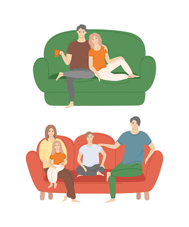 Couple at Home Sitting on Sofa, Family Evening