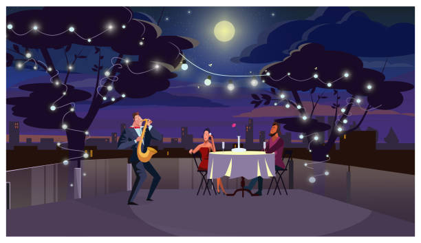 couple at romantic dinner outdoors illustration - date night stock illustrations