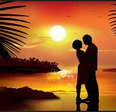 Couple at sunset Illustration