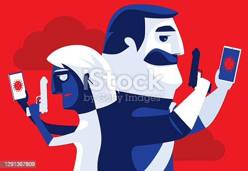 istock couple back to back with guns and smartphones 1291367809