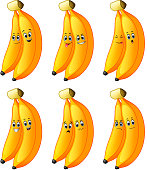 illustration of Couple banana in different emotions