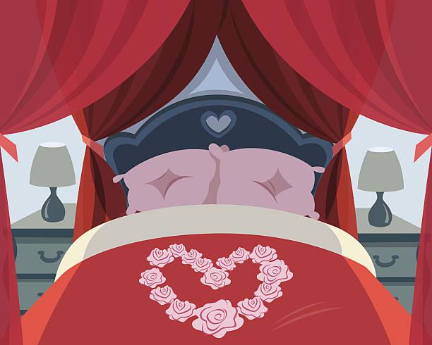 paar schlafzimmer - herzkissen stock-grafiken, -clipart, -cartoons und -symbole