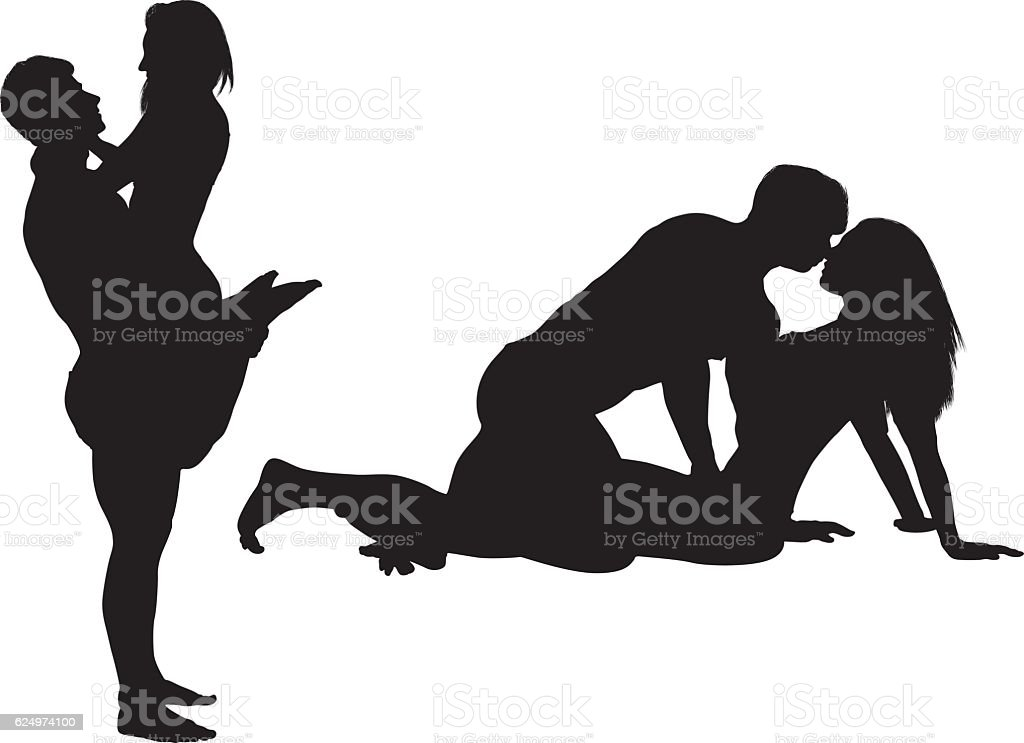 Couple being romantic vector art illustration