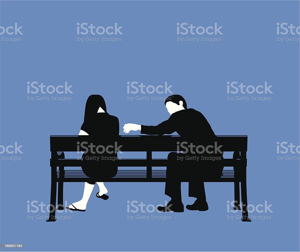 Couple bench blue vector art illustration