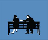 Couple bench blue