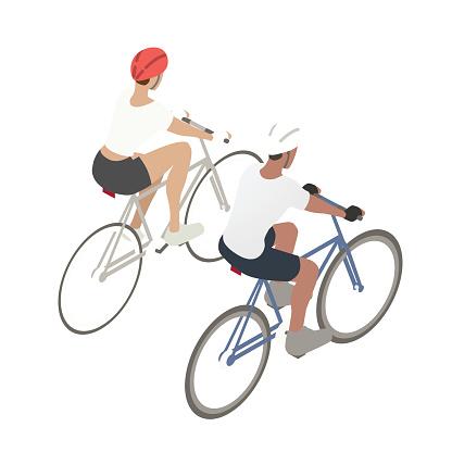 Couple biking illustration