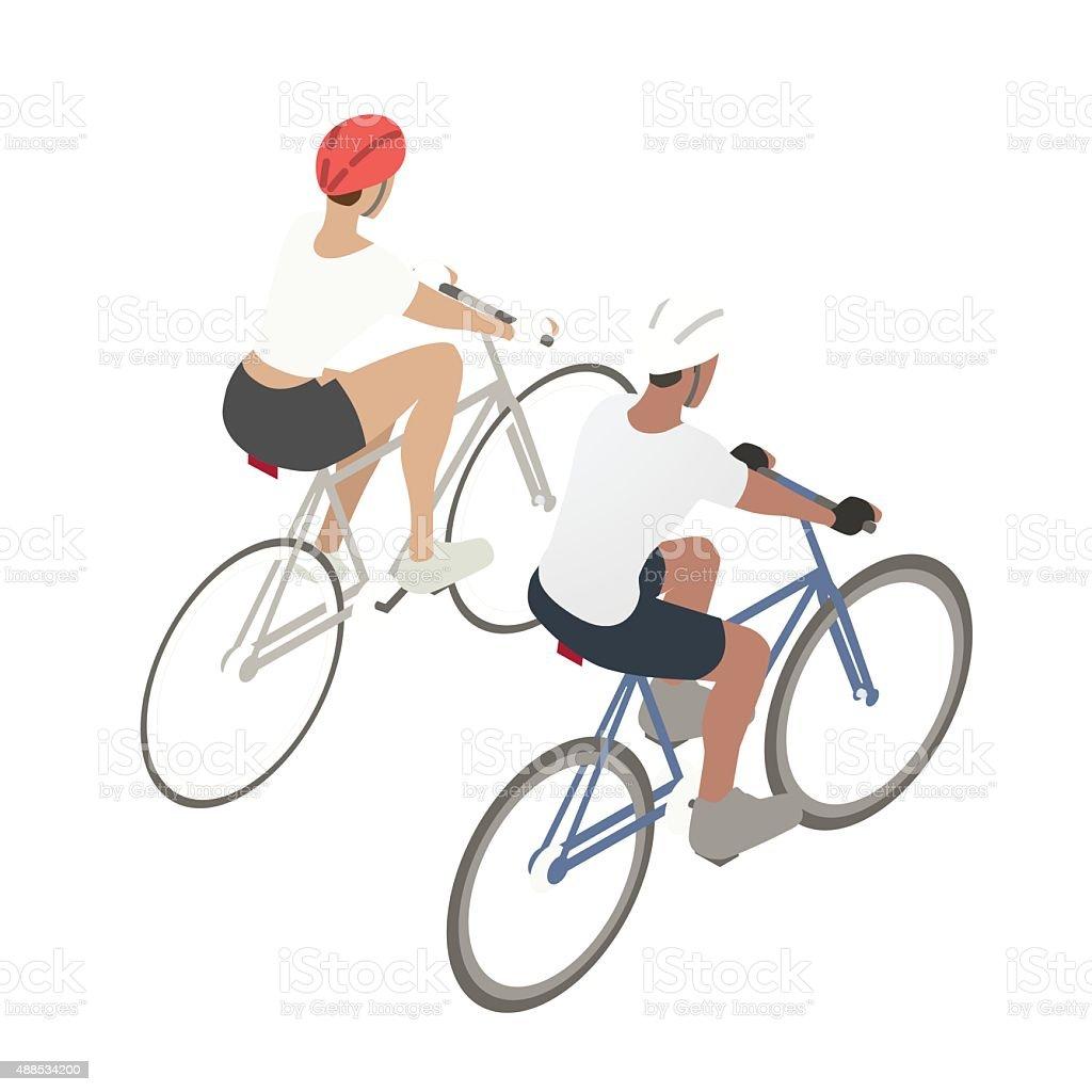 Couple biking illustration vector art illustration