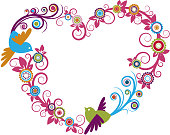 Bird and floral heart shaped frame