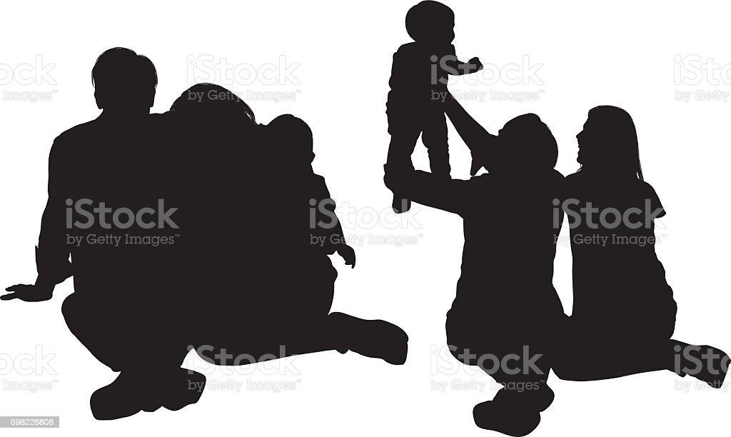 Casal ligação com seu bebê ilustração de casal ligação com seu bebê e mais banco de imagens de adulto royalty-free