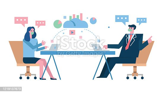 Couple business people wearing masks and keeping distance to protect from COVID-19 corona virus diseases. Idea for COVID-19 outbreak, prevention and awareness. flat design vector illustration