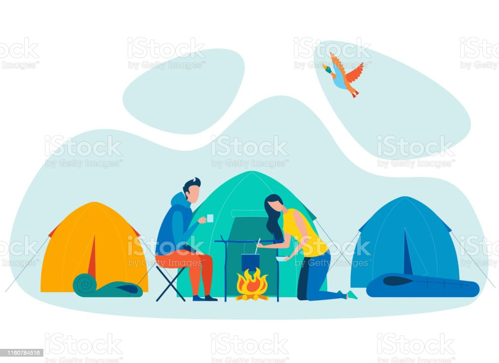 Couple Camping Vacation Flat Vector Illustration. Woman Cooking Food...