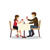 Couple Candle Light Dinner Design Vector