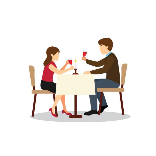 illustrazioni stock, clip art, cartoni animati e icone di tendenza di couple candle light dinner - dinner couple restaurant