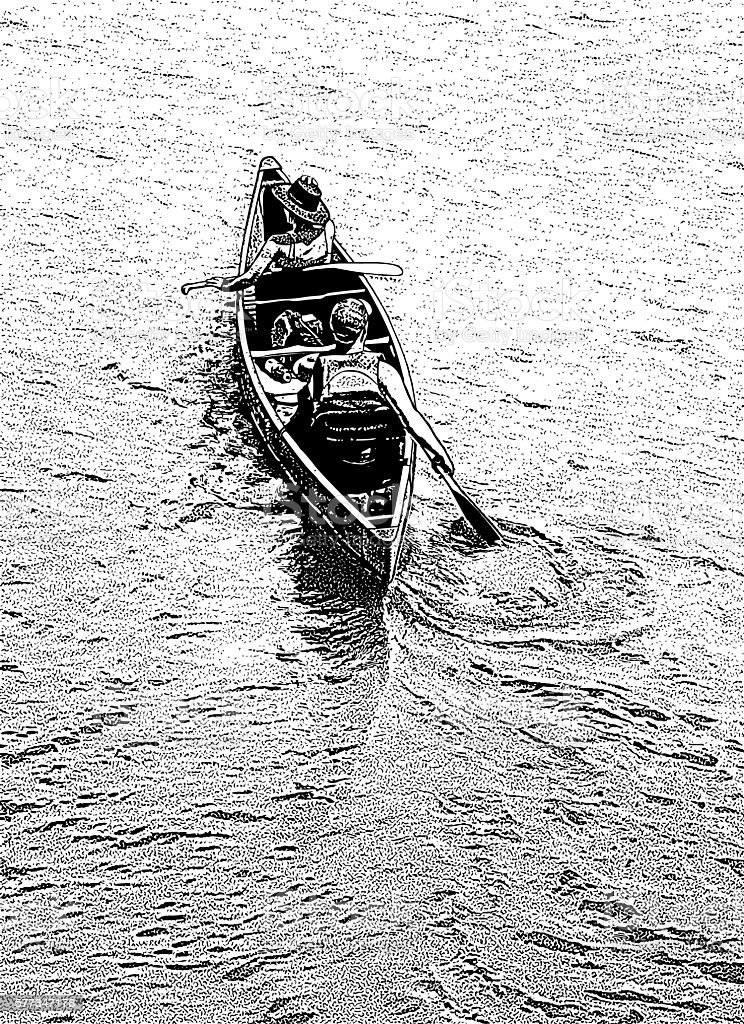 Couple Canoeing on a Lake vector art illustration