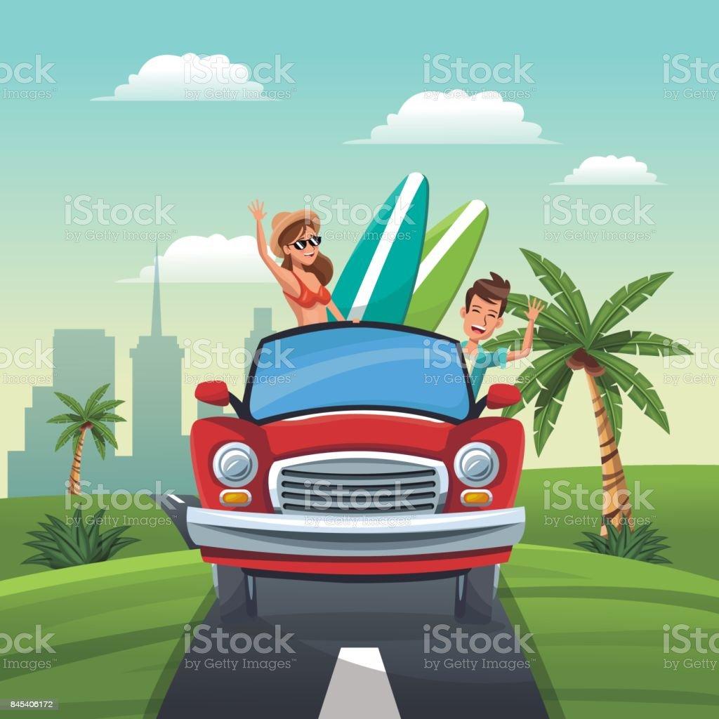 Paar Auto Reisen Urlaub Strasse Landschaft Stadt Hintergrund Stock