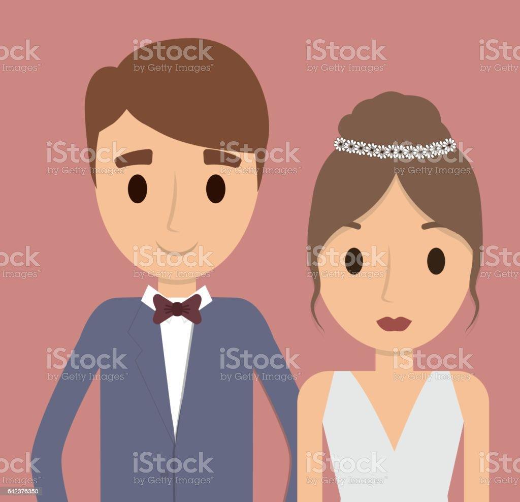 Pareja De Dibujos Animados Icono De Matrimonio De Boda Gráfico ...
