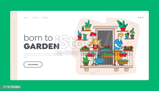istock Couple Characters Care of Plants at Balcony Garden Landing Page Template. Homework Caring of Flowers, People Gardening 1279763994