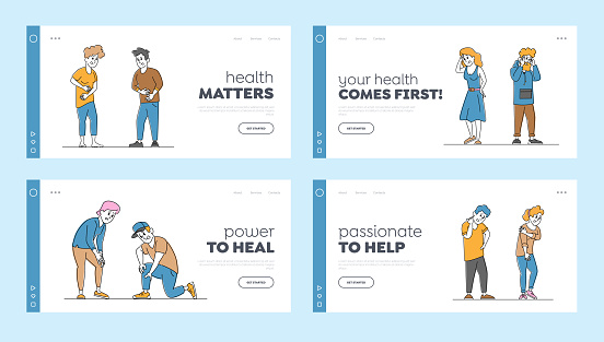 Couple Characters Feeling Different Kinds of Pain Landing Page Template Set. People Suffer of Ache in Knee, Neck, Back
