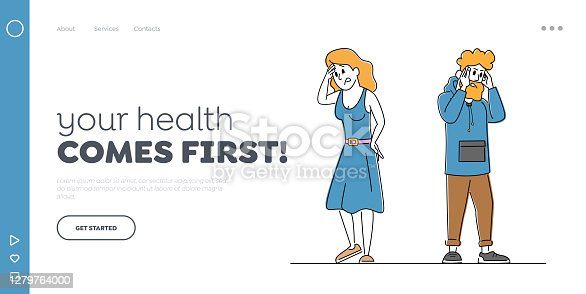 istock Couple Characters Feeling Head Ache Landing Page Template. Man and Woman with Pain. Health Problem, Disease Symptoms 1279764000