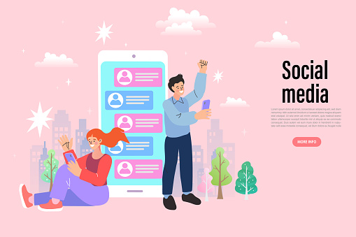 Couple chat on a cell phone. Girl communicates on the phone. Online chat man and woman. social network concept. Chat easily landing page website. illustration vector flat design