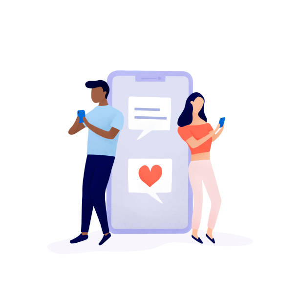 Couple chatting on social media vector Couple chatting on social media vector online dating stock illustrations