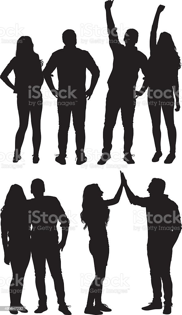 Couple cheering and giving high five vector art illustration
