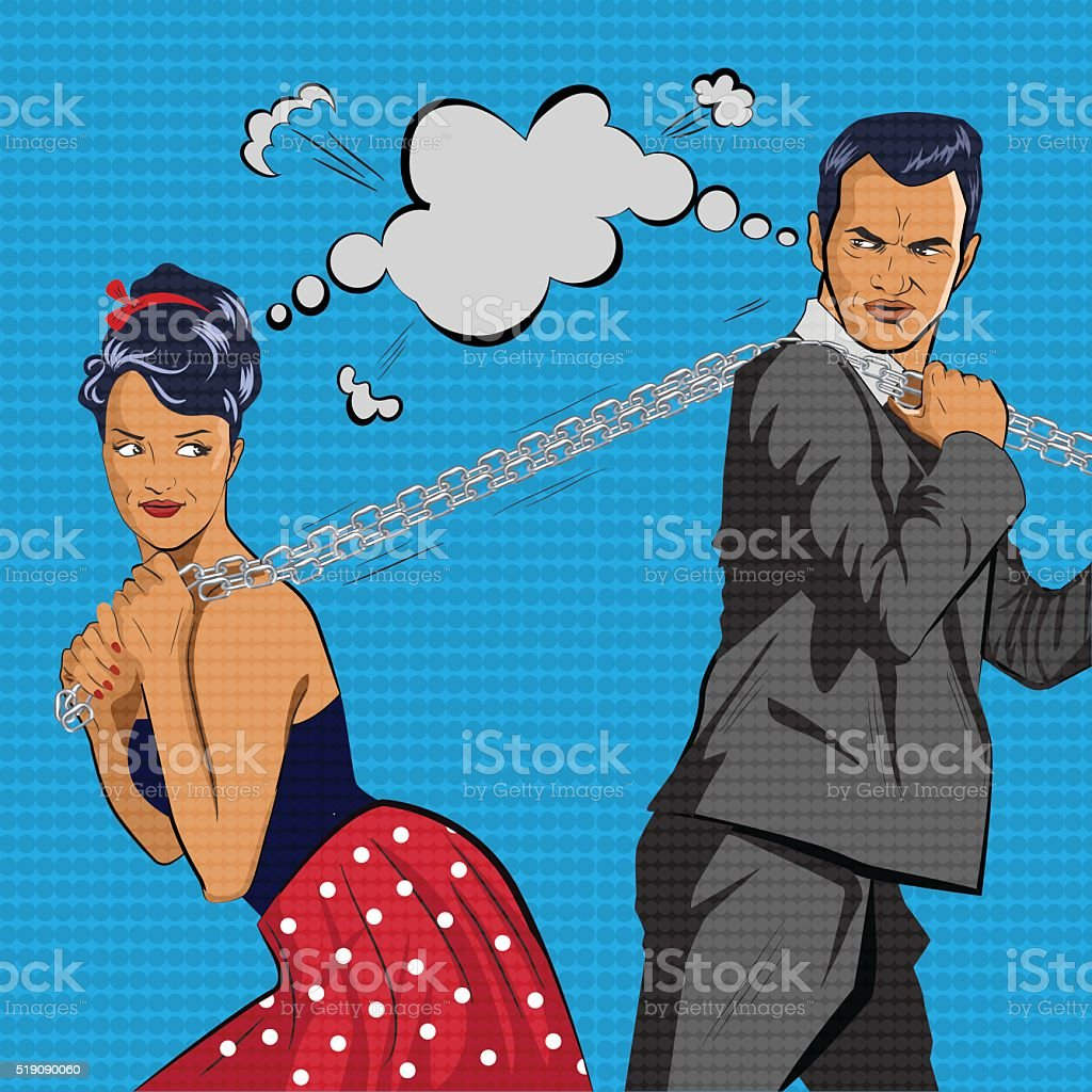 Couple competes. The man and  woman pulls  chain. Vector illustration vector art illustration