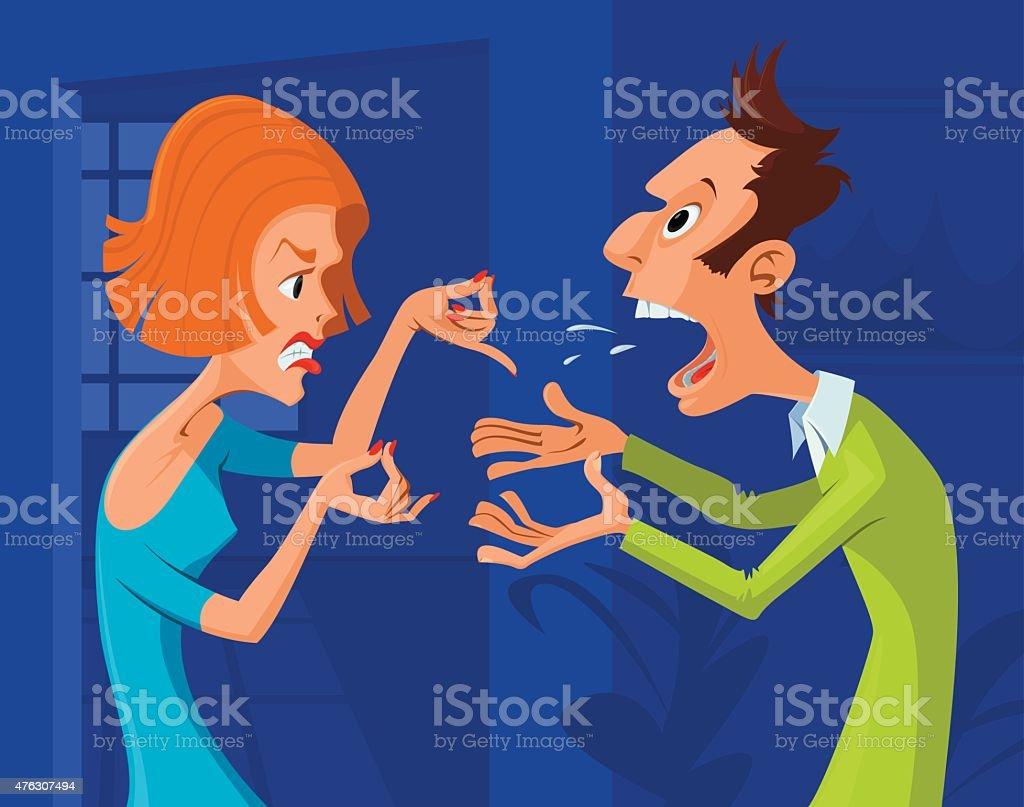 couple conflict vector art illustration