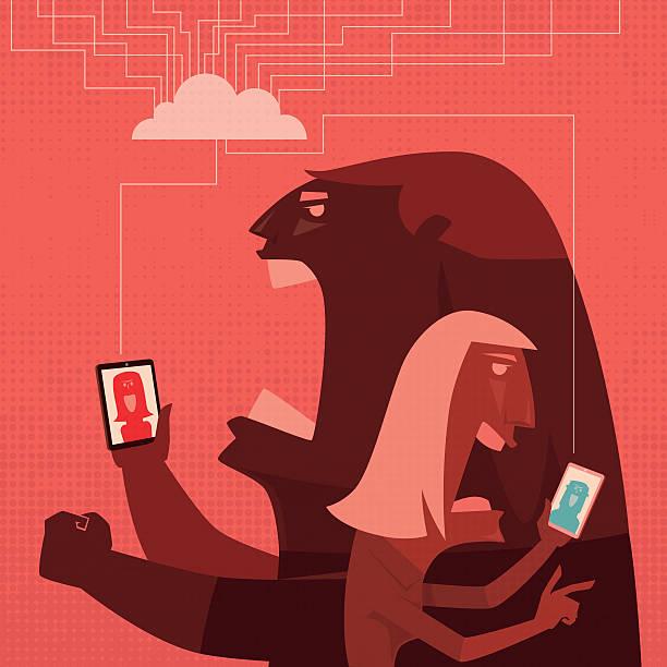 illustrazioni stock, clip art, cartoni animati e icone di tendenza di conflitto di coppia - furioso
