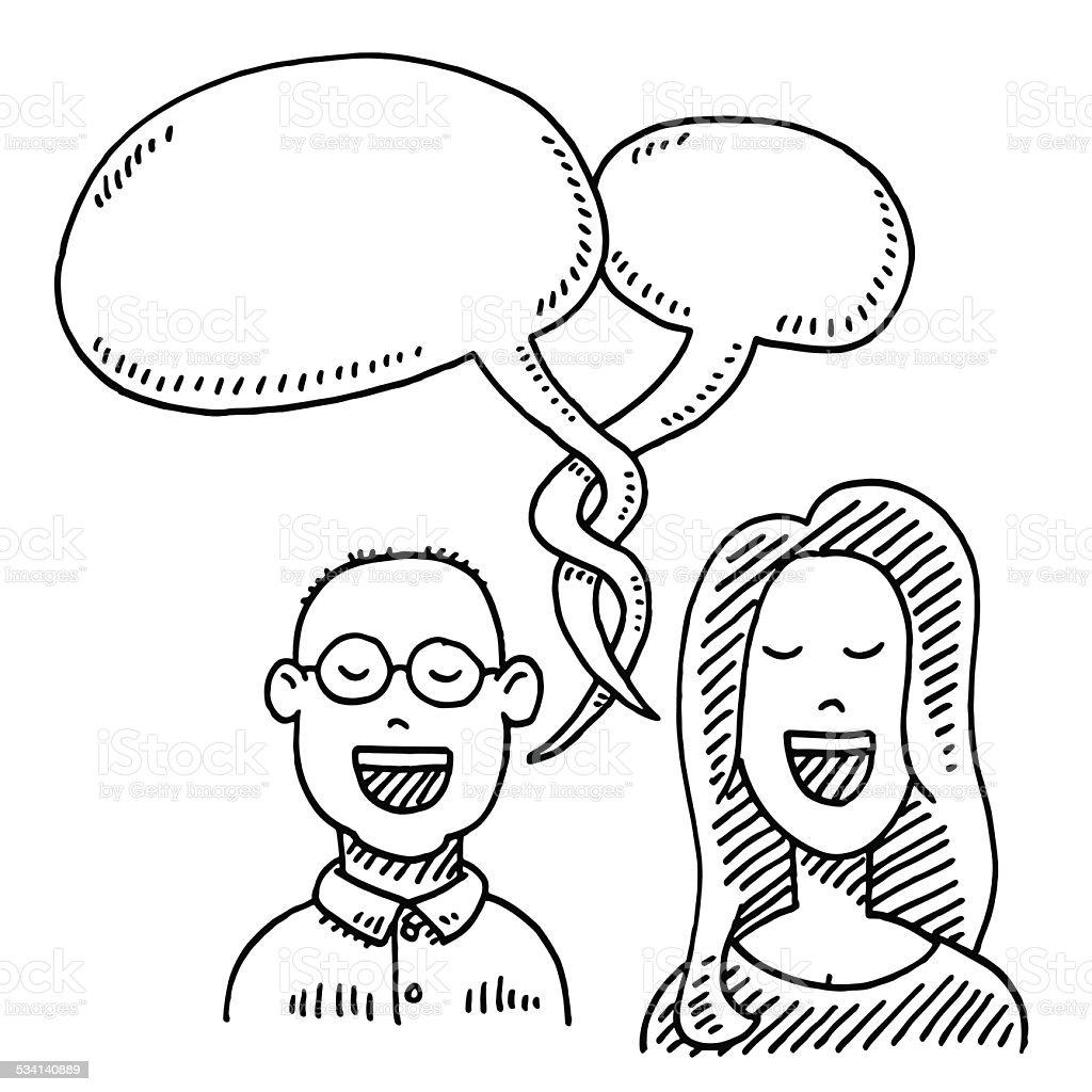 Couple Conversation Speech Bubble Drawing vector art illustration