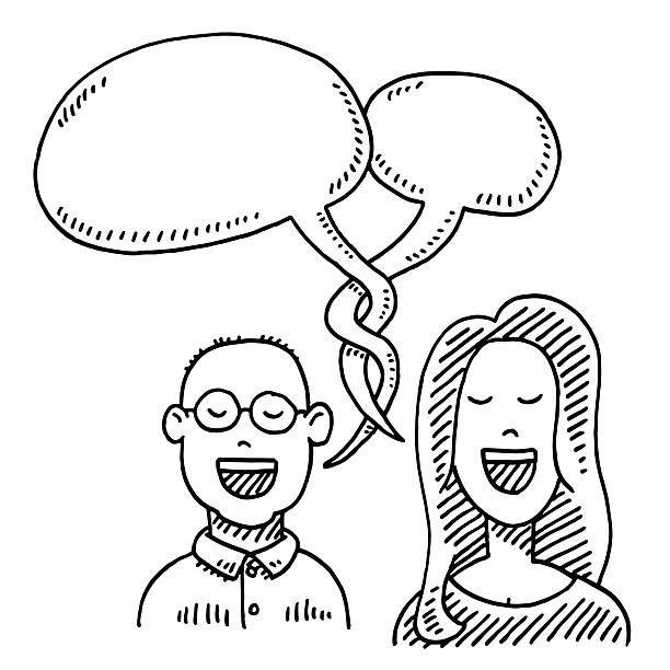 Couple Conversation Speech Bubble Drawing Hand-drawn vector drawing of a Couple and Speech Bubbles, Conversation Concept Image. Black-and-White sketch on a transparent background (.eps-file). Included files are EPS (v10) and Hi-Res JPG. women stock illustrations