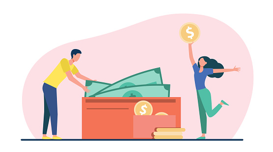 Couple counting cash in wallet. Money, income, salary, profit flat vector illustration. Finance, family budget concept for banner, website design or landing web page