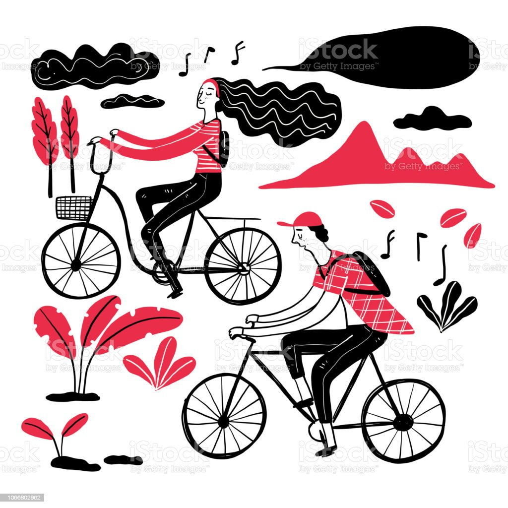 Couple cycling in the park vector art illustration
