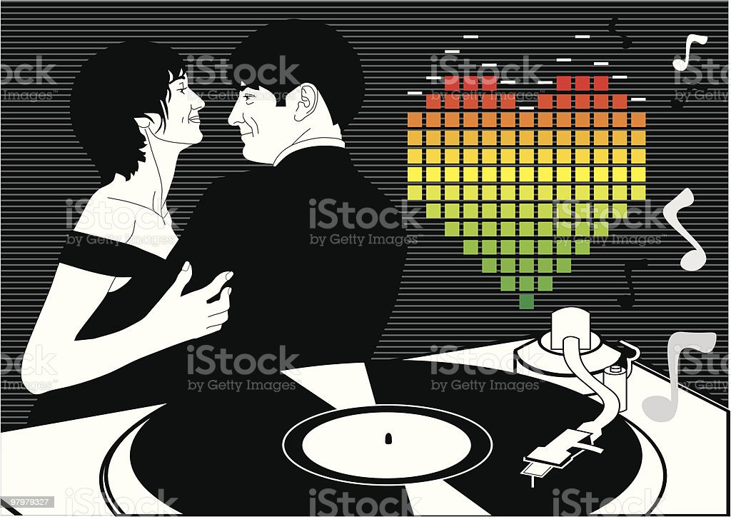 couple dance in love. card for valentine's day royalty-free stock vector art