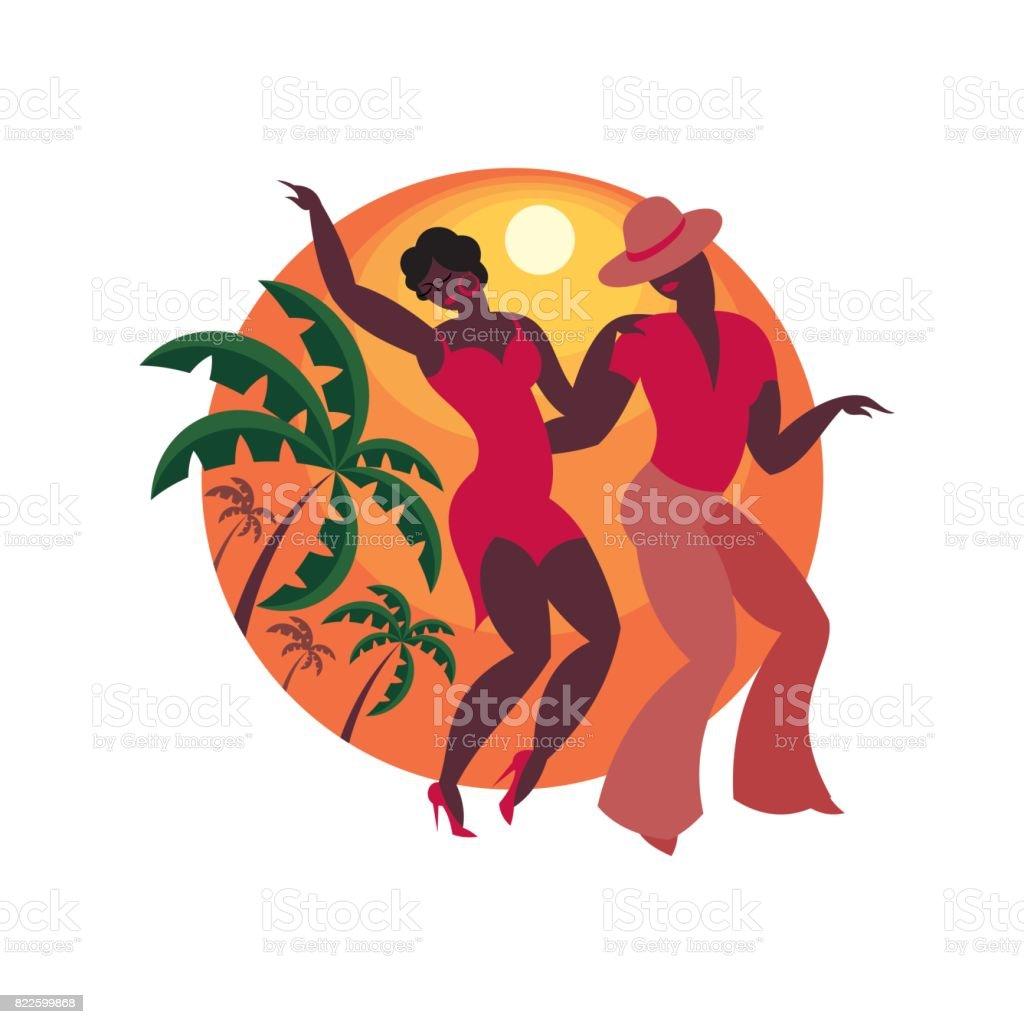 couple dances a salsa vector art illustration