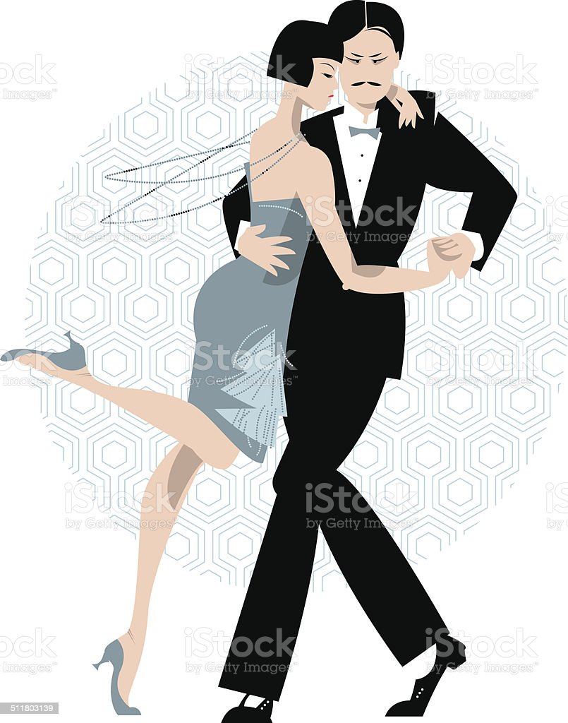 Couple dancing. Art deco. Retro tango. vector art illustration