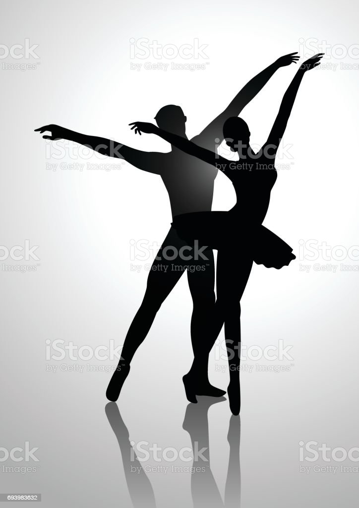 Couple Dancing Ballet vector art illustration