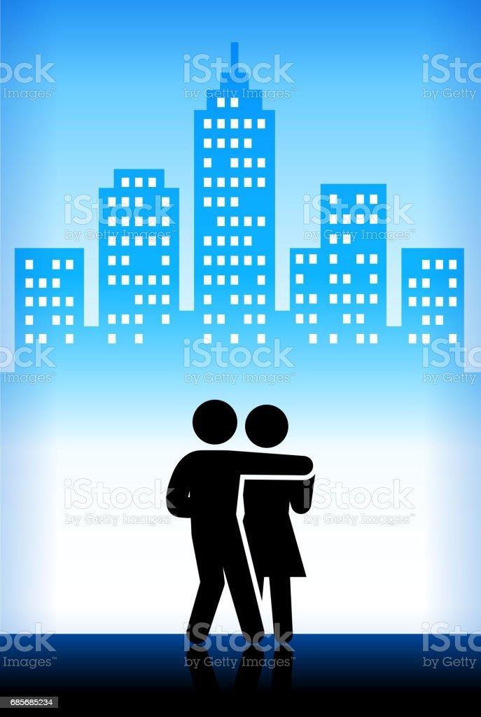 Couple Dancing Blue Vector City Background couple dancing blue vector city background - arte vetorial de stock e mais imagens de adulto royalty-free